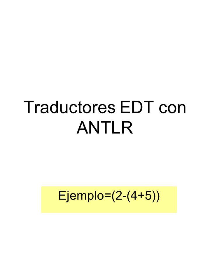 Traductores EDT con ANTLR Ejemplo=(2-(4+5))