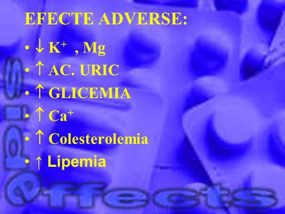 EFECTE ADVERSE: K +, Mg AC. URIC GLICEMIA Ca + Colesterolemia Lipemia