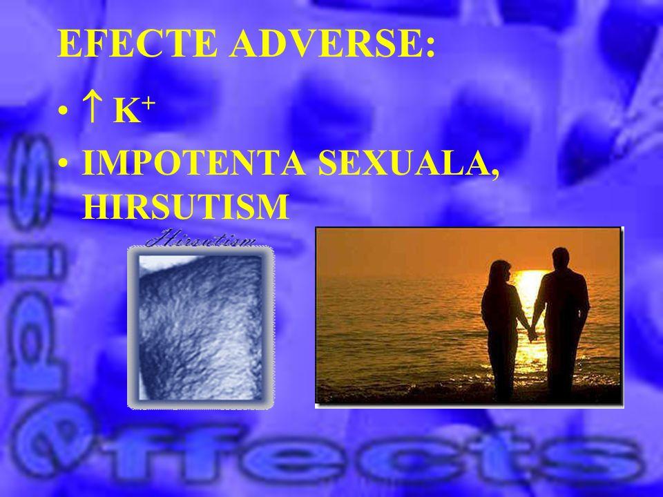 EFECTE ADVERSE: K + IMPOTENTA SEXUALA, HIRSUTISM