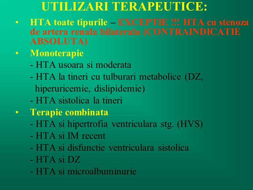 UTILIZARI TERAPEUTICE: HTA toate tipurile – EXCEPTIE !!! HTA cu stenoza de artera renala bilaterala (CONTRAINDICATIE ABSOLUTA) Monoterapie - HTA usoar