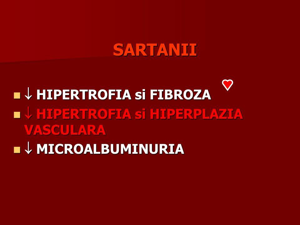 SARTANII HIPERTROFIA si FIBROZA HIPERTROFIA si FIBROZA HIPERTROFIA si HIPERPLAZIA VASCULARA HIPERTROFIA si HIPERPLAZIA VASCULARA MICROALBUMINURIA MICR