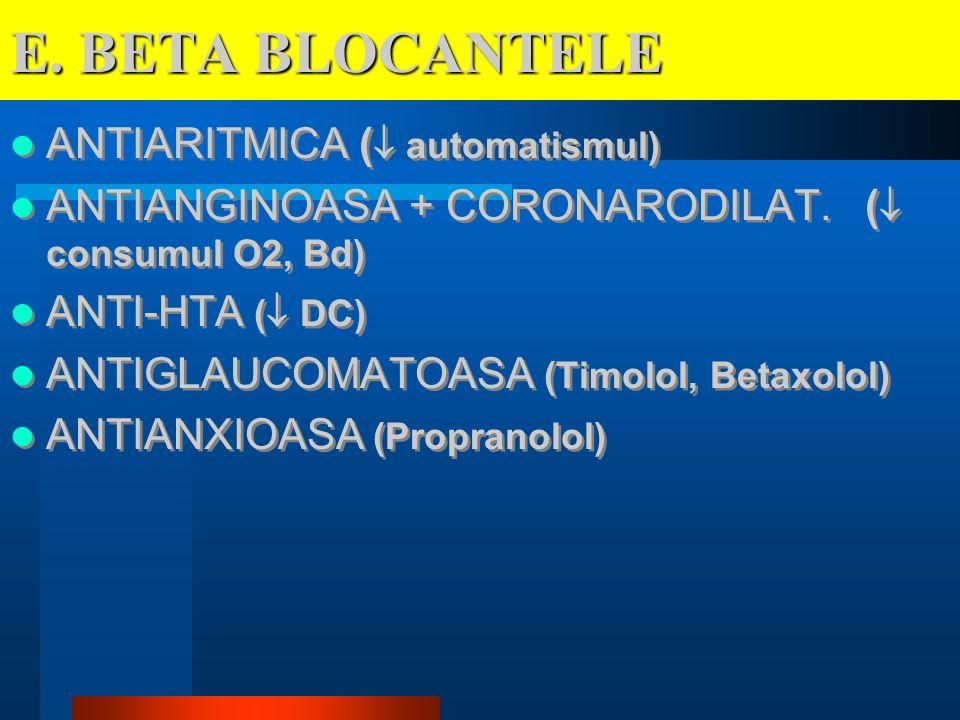 E. BETA BLOCANTELE ANTIARITMICA ( automatismul) ANTIANGINOASA + CORONARODILAT. ( consumul O2, Bd) ANTI-HTA ( DC) ANTIGLAUCOMATOASA (Timolol, Betaxolol