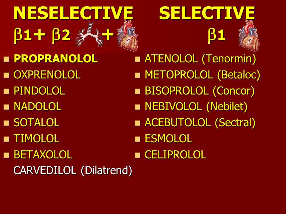 NESELECTIVE SELECTIVE 1 + 2 + 1 NESELECTIVE SELECTIVE 1 + 2 + 1 PROPRANOLOL PROPRANOLOL OXPRENOLOL OXPRENOLOL PINDOLOL PINDOLOL NADOLOL NADOLOL SOTALO