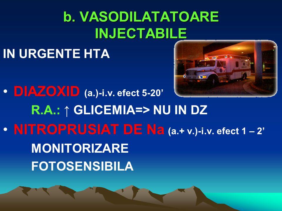 b. VASODILATATOARE INJECTABILE IN URGENTE HTA DIAZOXID (a.)-i.v. efect 5-20 R.A.: GLICEMIA=> NU IN DZ NITROPRUSIAT DE Na (a.+ v.)-i.v. efect 1 – 2 MON