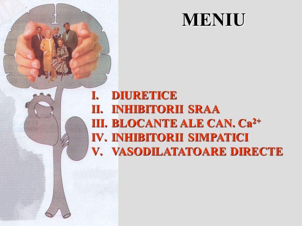 MENIU I.DIURETICE II.INHIBITORII SRAA III.BLOCANTE ALE CAN. Ca 2+ IV.INHIBITORII SIMPATICI V.VASODILATATOARE DIRECTE