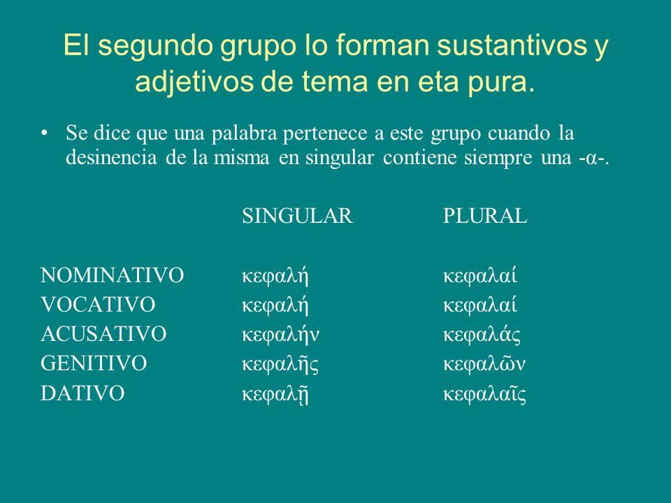 El tercer grupo lo forman sustantivos de tema mixto Son sustantivos de tema mixto aquéllos en los que el singular alterna la vocal α con la η.
