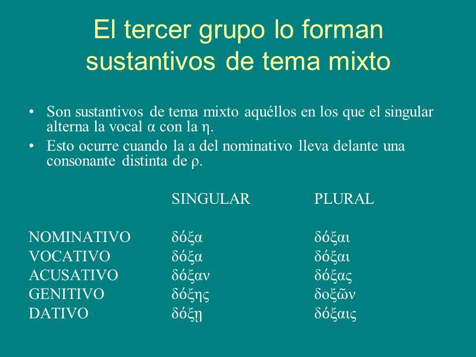 El tercer grupo lo forman sustantivos de tema mixto Son sustantivos de tema mixto aquéllos en los que el singular alterna la vocal α con la η. Esto oc