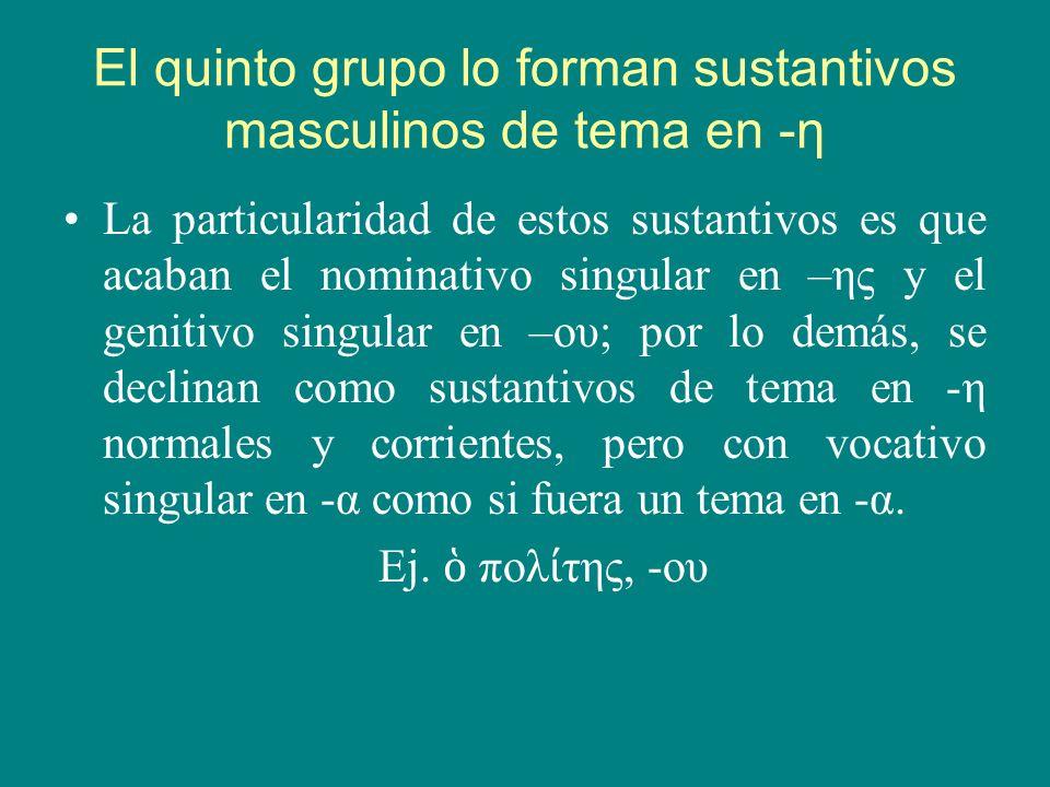 Declinación de los sustantivos masculinos de la primera: SINGULARPLURALSINGULARPLURAL N.νεαν αςνεαν αιπολ τηςπολ ται V.νεαν ανεαν αιπολ ταπολ ται Ac.νεαν αννεαν αςπολ τηνπολ τας G.νεαν ουνεανι νπολ τουπολιτ ν D.νεαν νεαν αιςπολ τ πολ ταις