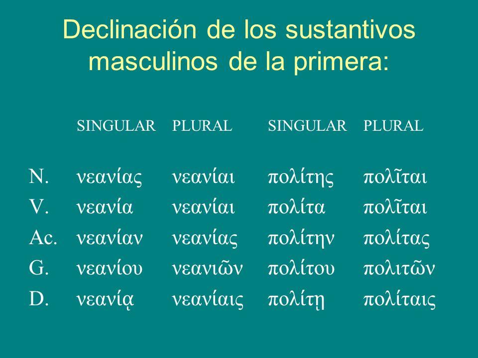 Declinación de los sustantivos masculinos de la primera: SINGULARPLURALSINGULARPLURAL N.νεαν αςνεαν αιπολ τηςπολ ται V.νεαν ανεαν αιπολ ταπολ ται Ac.ν