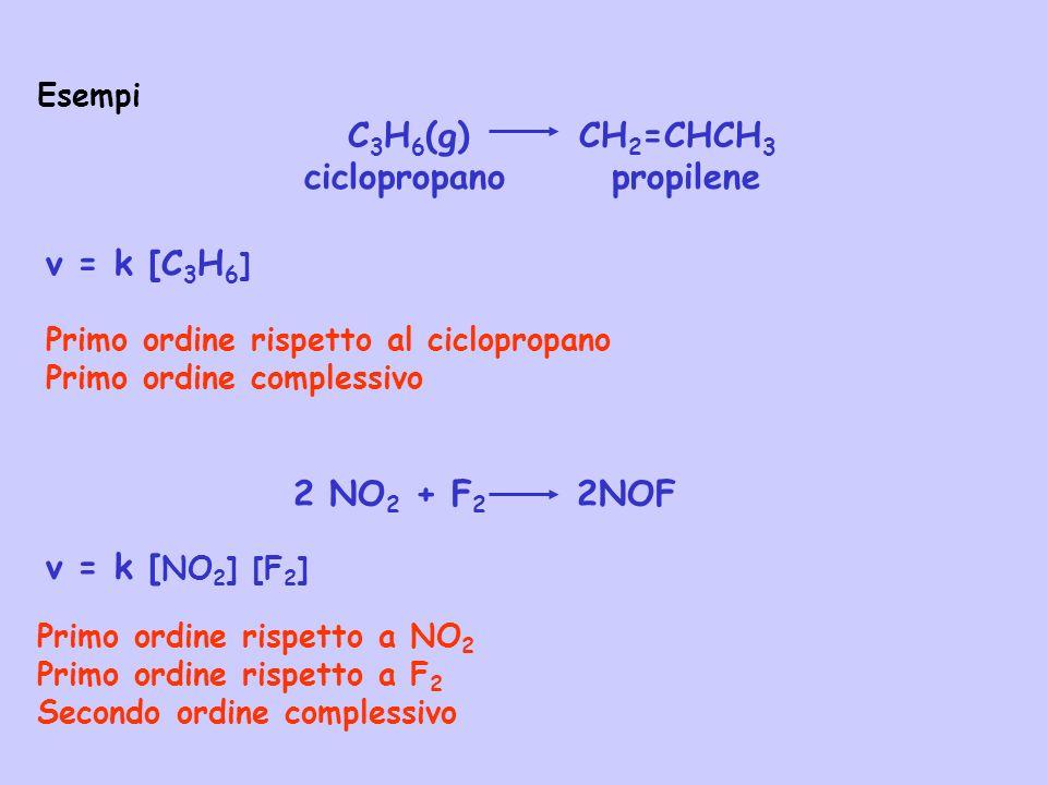 v = k [C 3 H 6 ] Esempi C 3 H 6 (g) CH 2 =CHCH 3 ciclopropano propilene Primo ordine rispetto al ciclopropano Primo ordine complessivo v = k [ NO 2 ]