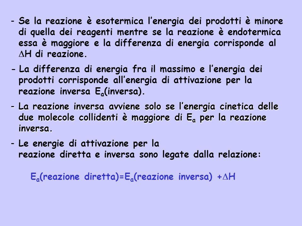 - Se la reazione è esotermica lenergia dei prodotti è minore di quella dei reagenti mentre se la reazione è endotermica essa è maggiore e la differenz