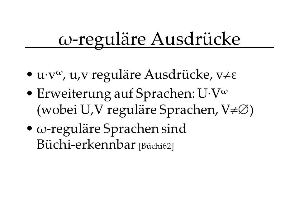 ω-reguläre Ausdrücke u·v ω, u,v reguläre Ausdrücke, v ε Erweiterung auf Sprachen: U·V ω (wobei U,V reguläre Sprachen, V ) ω-reguläre Sprachen sind Büchi-erkennbar [Büchi62]
