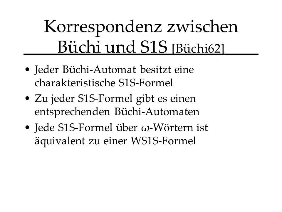 Korrespondenz zwischen Büchi und S1S [Büchi62] Jeder Büchi-Automat besitzt eine charakteristische S1S-Formel Zu jeder S1S-Formel gibt es einen entsprechenden Büchi-Automaten Jede S1S-Formel über ω-Wörtern ist äquivalent zu einer WS1S-Formel