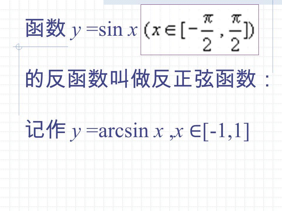 y =sin x y =arcsin x x [-1,1]