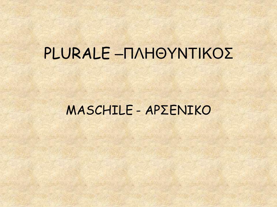 PLURALE –ΠΛΗΘΥΝΤΙΚΟΣ MASCHILE - ΑΡΣΕΝΙΚΟ
