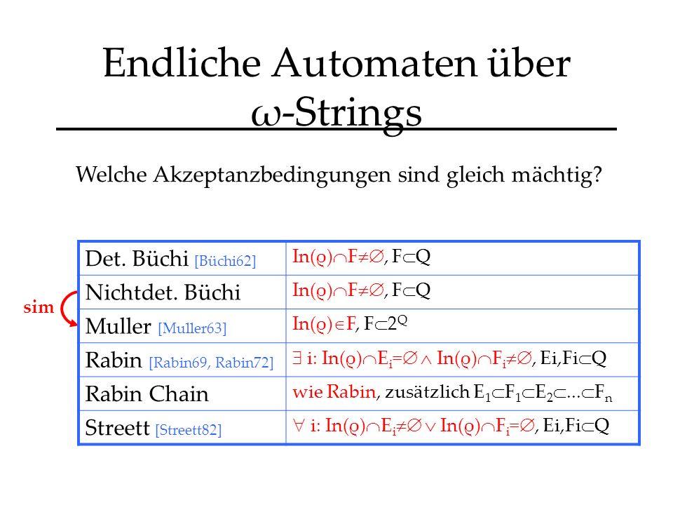 Endliche Automaten über ω-Strings sim Welche Akzeptanzbedingungen sind gleich mächtig.