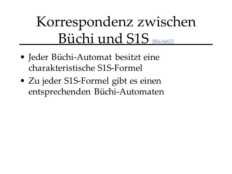 Korrespondenz zwischen Büchi und S1S [Büchi62] Jeder Büchi-Automat besitzt eine charakteristische S1S-Formel Zu jeder S1S-Formel gibt es einen entsprechenden Büchi-Automaten