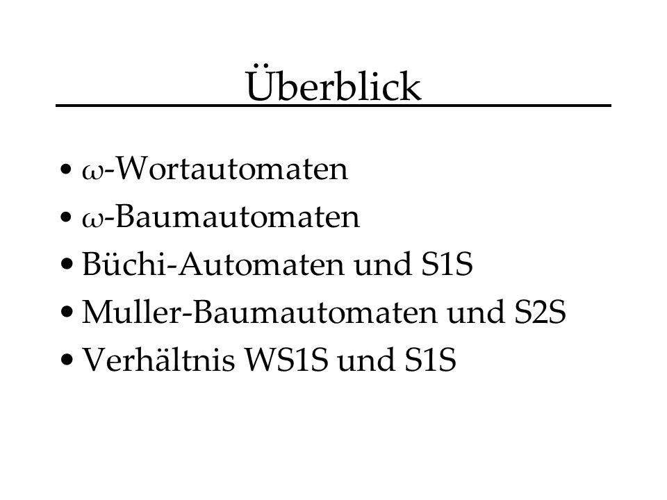 Überblick ω -Wortautomaten ω -Baumautomaten Büchi-Automaten und S1S Muller-Baumautomaten und S2S Verhältnis WS1S und S1S