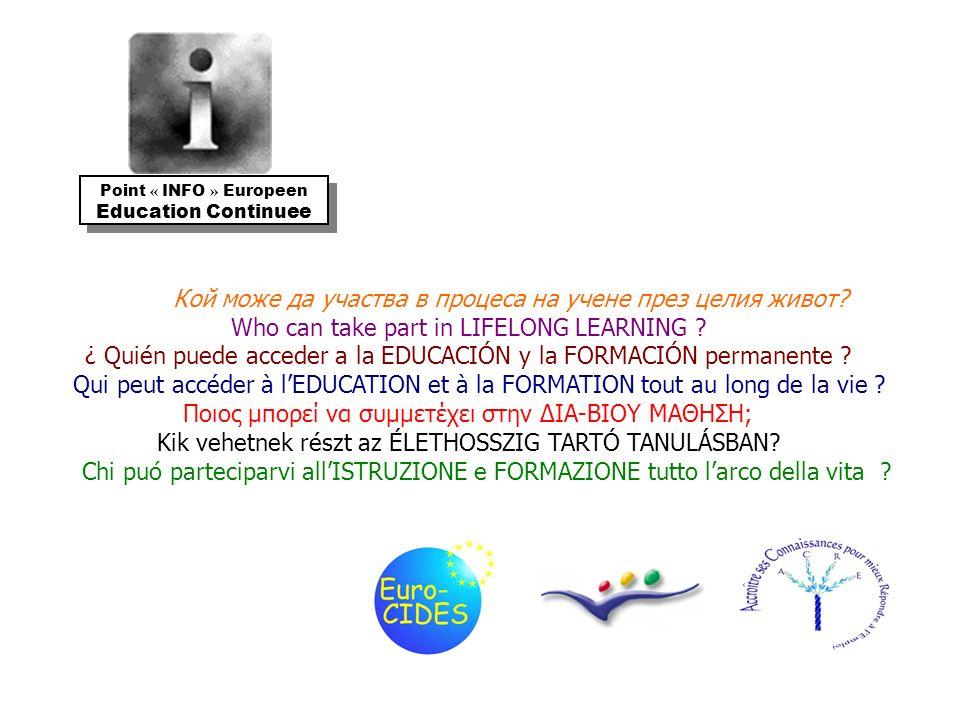 Кой може да участва в процеса на учене през целия живот? Who can take part in LIFELONG LEARNING ? ¿ Quién puede acceder a la EDUCACIÓN y la FORMACIÓN