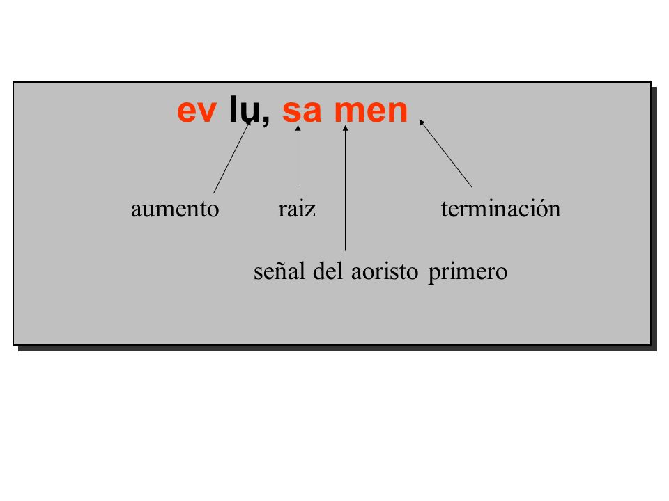 ev lu, sa men aumento raiz terminación señal del aoristo primero ev lu, sa men aumento raiz terminación señal del aoristo primero