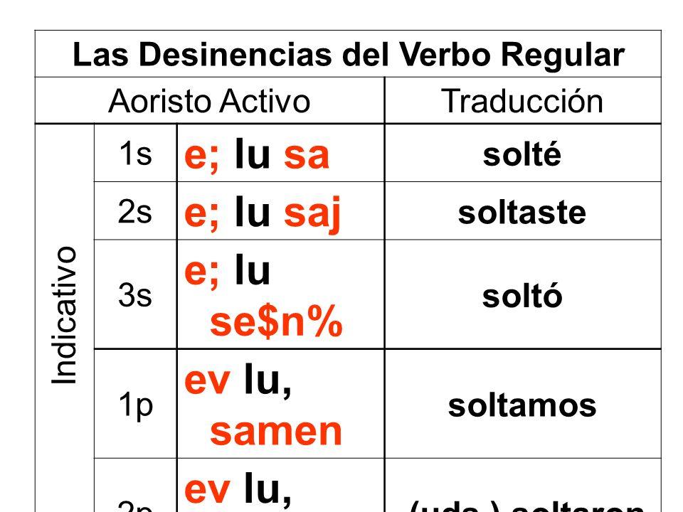 Las Desinencias del Verbo Regular Aoristo ActivoTraducción 1s e; lu sa solté 2s e; lu saj soltaste 3s e; lu se$n% soltó 1p ev lu, samen soltamos 2p ev