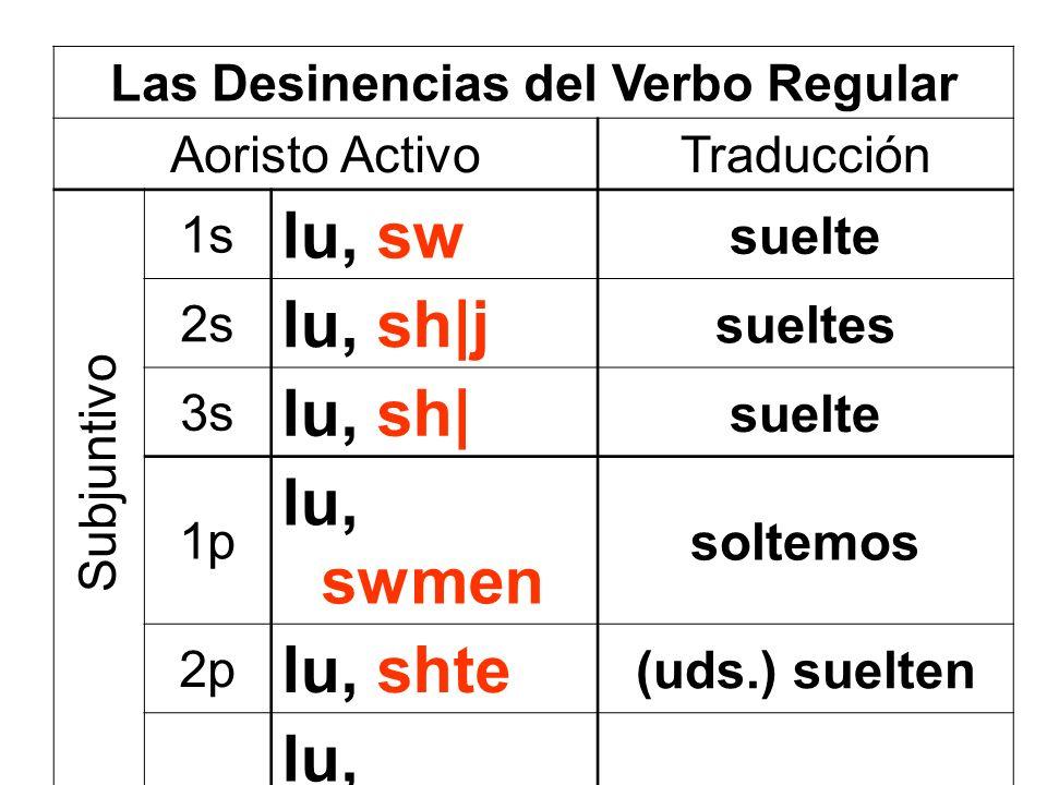 Las Desinencias del Verbo Regular Aoristo ActivoTraducción 1s lu, sw suelte 2s lu, sh|j sueltes 3s lu, sh| suelte 1p lu, swmen soltemos 2p lu, shte (u