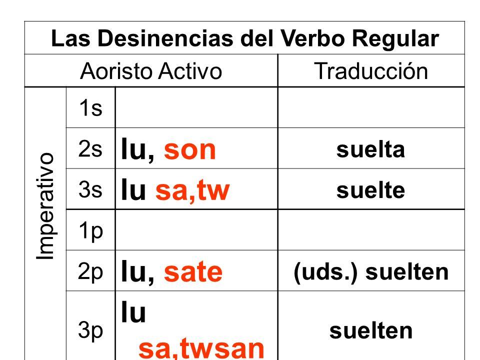 Las Desinencias del Verbo Regular Aoristo ActivoTraducción 1s 2s lu, son suelta 3s lu sa,tw suelte 1p 2p lu, sate (uds.) suelten 3p lu sa,twsan suelten Imperativo