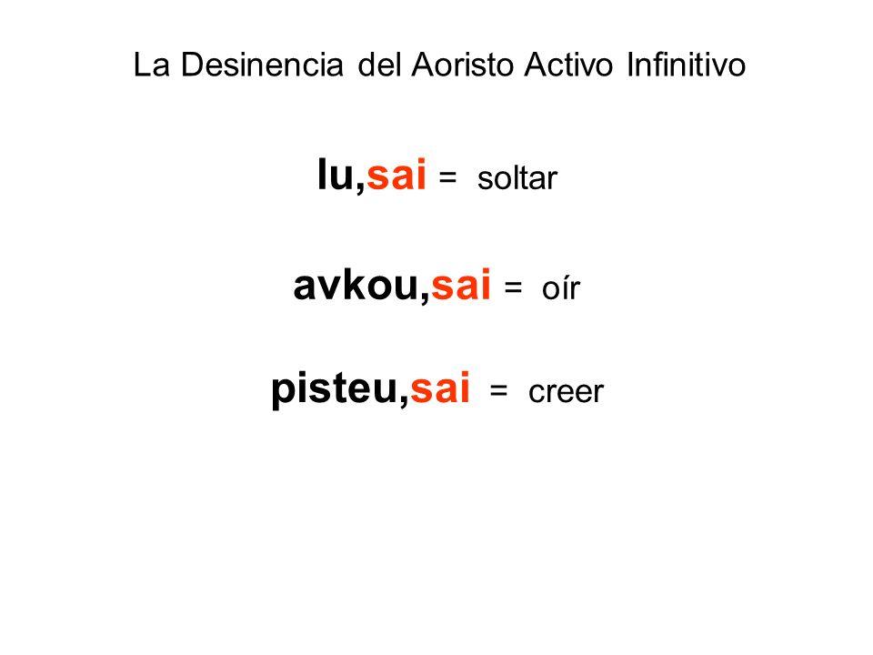 La Desinencia del Aoristo Activo Infinitivo lu,sai = soltar avkou,sai = oír pisteu,sai = creer