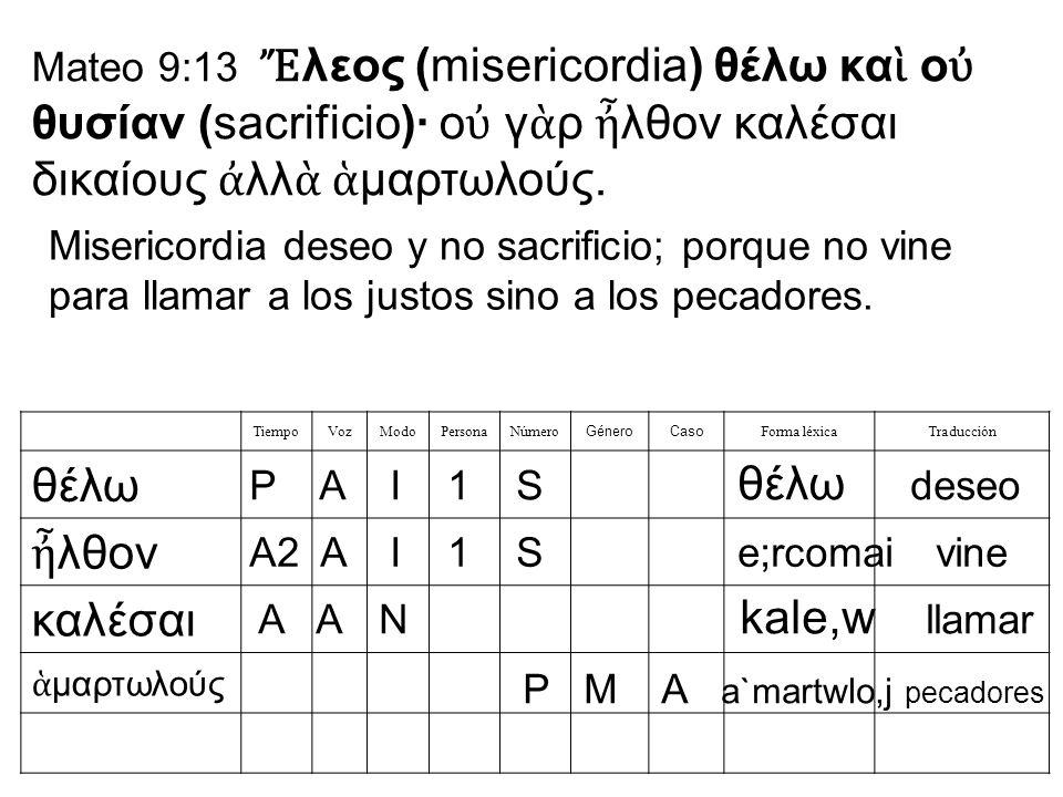 Mateo 9:13 λεος (misericordia) θέλω κα ο θυσίαν (sacrificio)· ο γ ρ λθον καλέσαι δικαίους λλ μαρτωλούς. TiempoVozModoPersonaNúmero GéneroCaso Forma lé