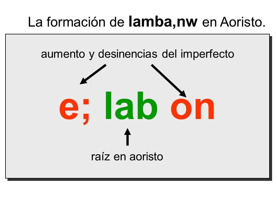 Las Desinencias del Verbo Regular Aoristo 2º ActivoTraducción 1s e; lab on recibí 2s e; lab ej recibimos 3s e; lab e$n% recibió 1p ev la,b omen recibimos 2p ev la,b ete recibieron 3p e; lab on recibieron Indicativo