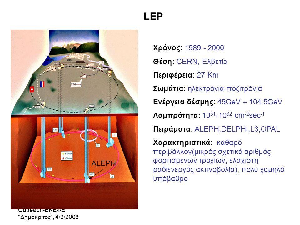 Outreach-ΕΚΕΦΕ Δημόκριτος , 4/3/2008 Ο Ανιχνευτής ALEPH/LEP άρχισε να λειτουργεί το 1989 και είχε σκοπό να ανιχνεύει τα προϊόντα της διάσπασης του Ζ 0 μποζονίου Χαρακτηριστικά: Ερμητικότητα-> κάλυψη στερεάς γωνίας πολύ κοντά στο 4π Ακριβής Μέτρηση ορμών φορτισμένων τροχιών Ακριβής Μέτρηση Ενέργειας στα Θερμιδόμετρα, που εναποτίθεται από τα φορτισμένα και τα ουδέτερα σωματίδια Ταυτοποίηση σωματιδίων Μέτρηση δευτερογενών κορυφών διάσπασης βαρέων κουαρκ