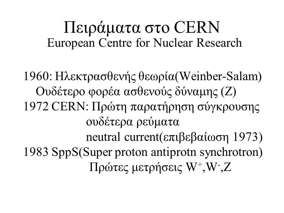 Πειράματα στο CERN European Centre for Nuclear Research 1960: Ηλεκτρασθενής θεωρία(Weinber-Salam) Ουδέτερο φορέα ασθενούς δύναμης (Ζ) 1972 CERN: Πρώτη παρατήρηση σύγκρουσης ουδέτερα ρεύματα neutral current(επιβεβαίωση 1973) 1983 SppS(Super proton antiprotn synchrotron) Πρώτες μετρήσεις W +,W -,Ζ