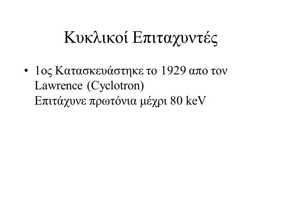 Κυκλικοί Επιταχυντές 1ος Κατασκευάστηκε το 1929 απο τον Lawrence (Cyclotron) Eπιτάχυνε πρωτόνια μέχρι 80 keV