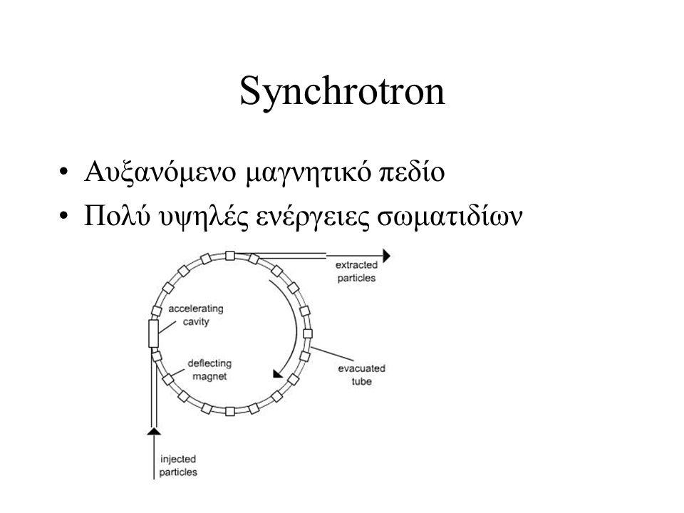 Synchrotron Αυξανόμενο μαγνητικό πεδίο Πολύ υψηλές ενέργειες σωματιδίων