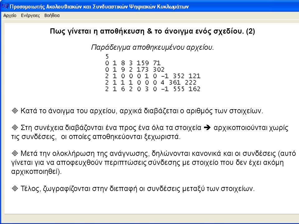 Πως γίνεται η αποθήκευση & το άνοιγμα ενός σχεδίου. (2) Παράδειγμα αποθηκευμένου αρχείου.  Κατά το άνοιγμα του αρχείου, αρχικά διαβάζεται ο αριθμός τ