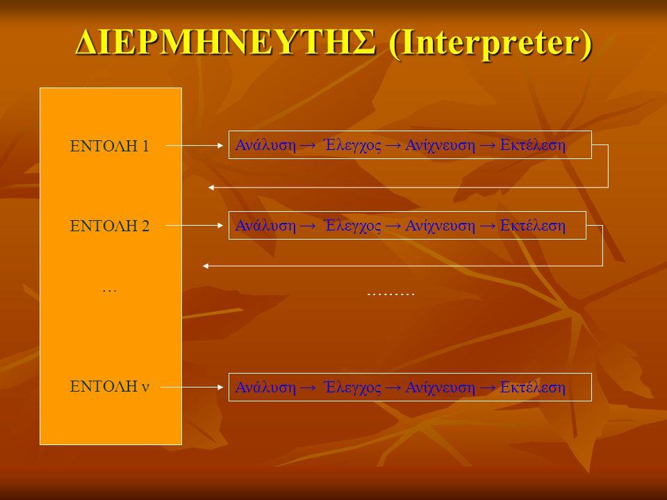 ΔΙΕΡΜΗΝΕΥΤHΣ (Interpreter) ΕΝΤΟΛΗ 1 ΕΝΤΟΛΗ 2 … ΕΝΤΟΛΗ ν Ανάλυση → Έλεγχος → Ανίχνευση → Εκτέλεση ………