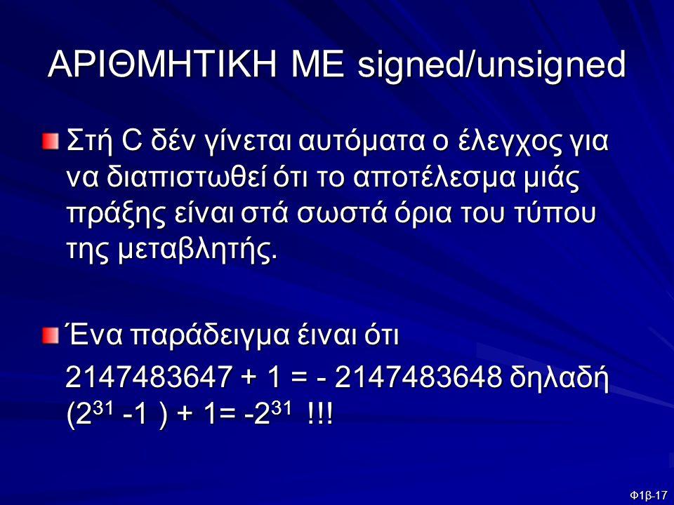 Φ1β-17 ΑΡΙΘΜΗΤΙΚΗ ΜΕ signed/unsigned Στή C δέν γίνεται αυτόματα ο έλεγχος για να διαπιστωθεί ότι το αποτέλεσμα μιάς πράξης είναι στά σωστά όρια του τύ