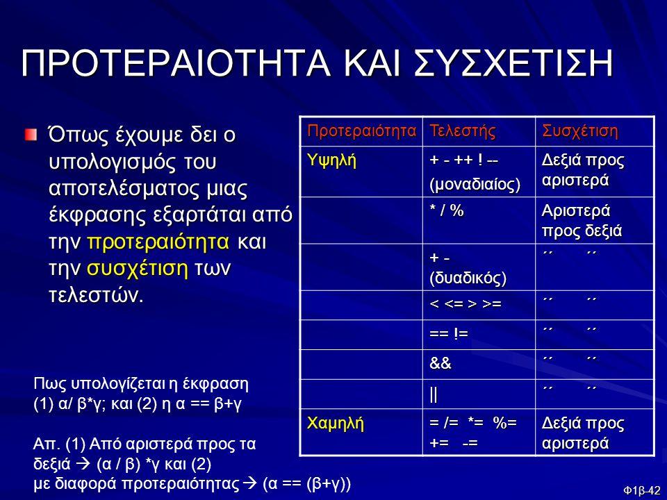 Φ1β-42 ΠΡΟΤΕΡΑΙΟΤΗΤΑ ΚΑΙ ΣΥΣΧΕΤΙΣΗ Όπως έχουμε δει ο υπολογισμός του αποτελέσματος μιας έκφρασης εξαρτάται από την προτεραιότητα και την συσχέτιση των