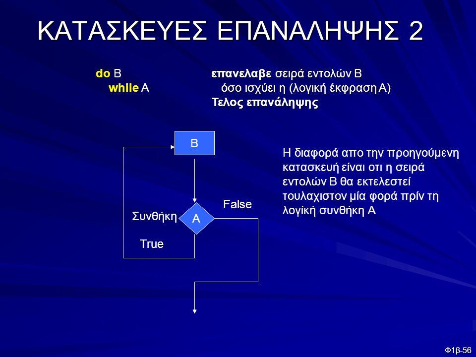 Φ1β-56 ΚΑΤΑΣΚΕΥΕΣ ΕΠΑΝΑΛΗΨΗΣ 2 επανελαβε σειρά εντολών Β όσο ισχύει η (λογική έκφραση Α) όσο ισχύει η (λογική έκφραση Α) Τελος επανάληψης Συνθήκη Β Α