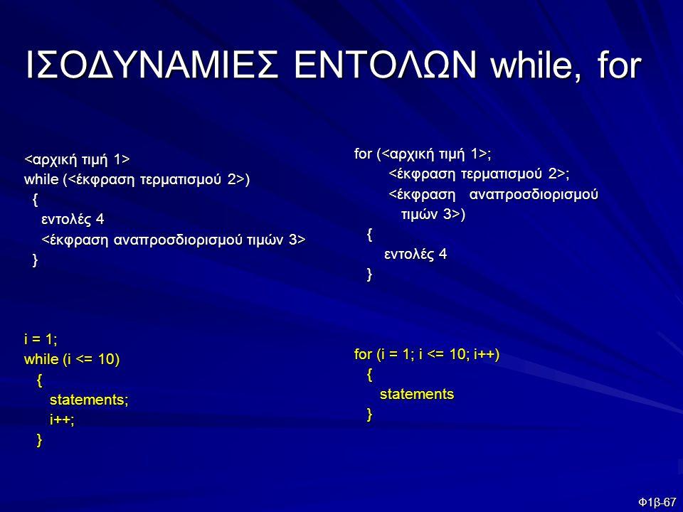 Φ1β-67 ΙΣΟΔΥΝΑΜΙΕΣ ΕΝΤΟΛΩΝ while, for while ( ) { εντολές 4 εντολές 4 } i = 1; while (i <= 10) { statements; statements; i++; i++; } for ( ; ; ; <έκφρ