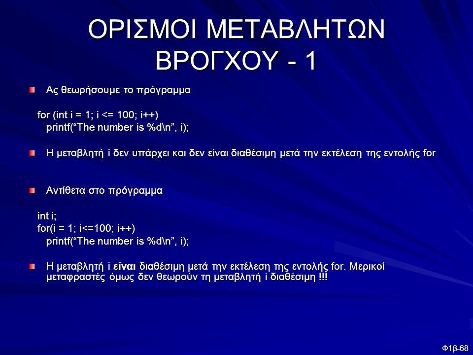"""Φ1β-68 ΟΡΙΣΜΟΙ ΜΕΤΑΒΛΗΤΩΝ ΒΡΟΓΧΟΥ - 1 Ας θεωρήσουμε το πρόγραμμα for (int i = 1; i <= 100; i++) for (int i = 1; i <= 100; i++) printf(""""The number is %"""