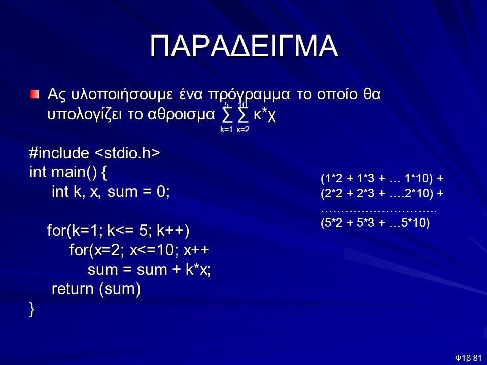 Φ1β-81 ΠΑΡΑΔΕΙΓΜΑ Ας υλοποιήσουμε ένα πρόγραμμα το οποίο θα υπολογίζει το αθροισμα ∑ ∑ κ*χ υπολογίζει το αθροισμα ∑ ∑ κ*χ #include #include int main()