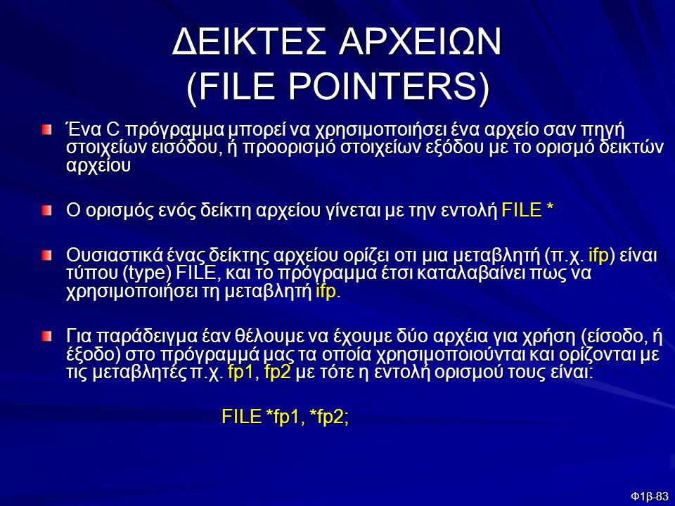 Φ1β-83 ΔΕΙΚΤΕΣ ΑΡΧΕΙΩΝ (FILE POINTERS) Ένα C πρόγραμμα μπορεί να χρησιμοποιήσει ένα αρχείο σαν πηγή στοιχείων εισόδου, ή προορισμό στοιχείων εξόδου με