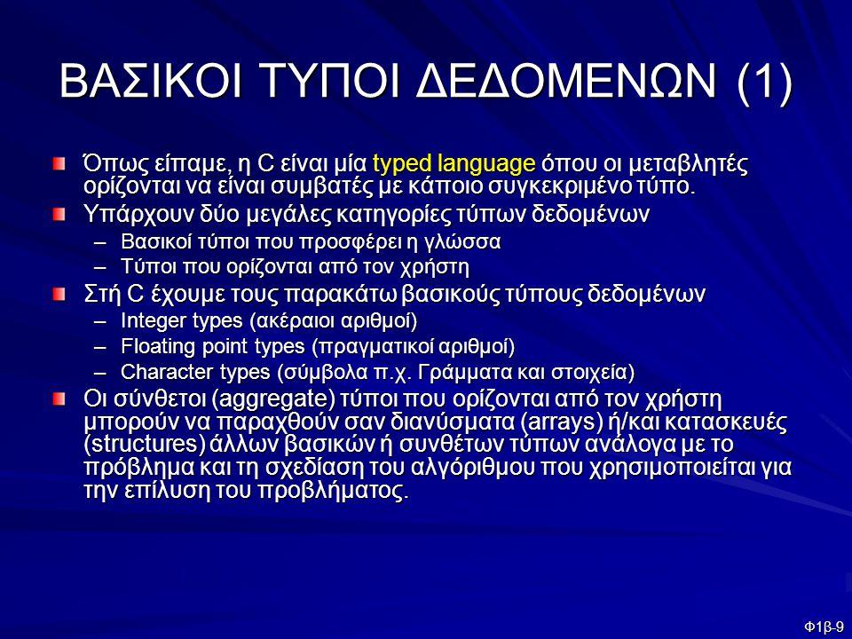Φ1β-10 ΒΑΣΙΚΟΙ ΤΥΠΟΙ ΔΕΔΟΜΕΝΩΝ (2) Οι παρακάτω λέξεις κλειδιά χρησιμοποιούνται για τον ορισμό ακεραίων μεταβλητών.