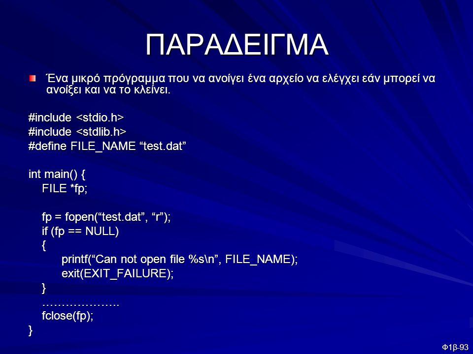 Φ1β-93 ΠΑΡΑΔΕΙΓΜΑ Ένα μικρό πρόγραμμα που να ανοίγει ένα αρχείο να ελέγχει εάν μπορεί να ανοίξει και να το κλείνει. #include #include #define FILE_NAM