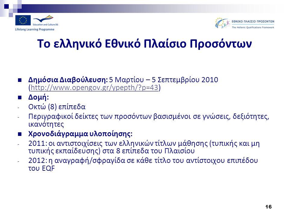 16 Το ελληνικό Εθνικό Πλαίσιο Προσόντων Δημόσια Διαβούλευση: 5 Μαρτίου – 5 Σεπτεμβρίου 2010 (http://www.opengov.gr/ypepth/?p=43)http://www.opengov.gr/