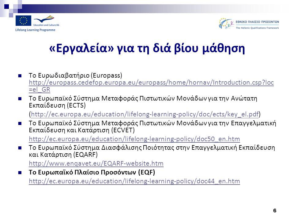 6 «Εργαλεία» για τη διά βίου μάθηση Το Ευρωδιαβατήριο (Europass) http://europass.cedefop.europa.eu/europass/home/hornav/Introduction.csp?loc =el_GR ht