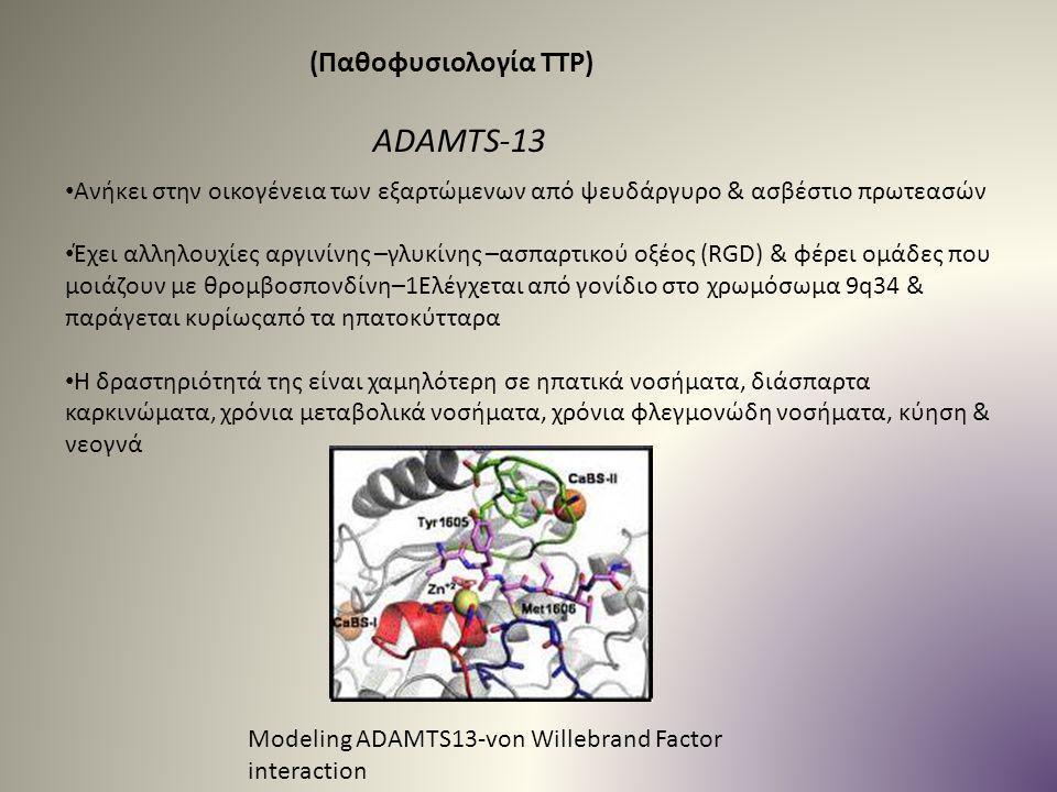 (Παθοφυσιολογία TTP) Ανήκει στην οικογένεια των εξαρτώμενων από ψευδάργυρο & ασβέστιο πρωτεασών Έχει αλληλουχίες αργινίνης –γλυκίνης –ασπαρτικού οξέος