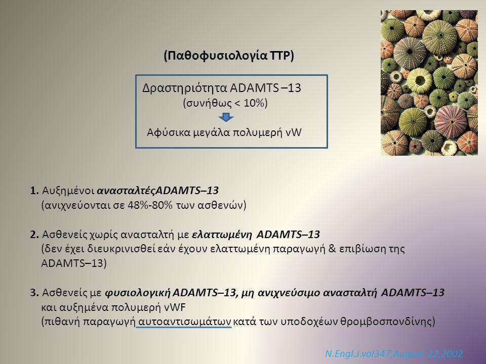 (Παθοφυσιολογία TTP) Δραστηριότητα ADAMTS –13 (συνήθως < 10%) Αφύσικα μεγάλα πολυμερή vW 1. Αυξημένοι ανασταλτέςADAMTS–13 (ανιχνεύονται σε 48%-80% των