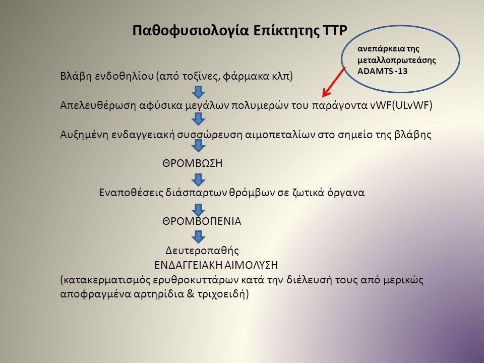 Παθοφυσιολογία Επίκτητης TTP Βλάβη ενδοθηλίου (από τοξίνες, φάρμακα κλπ) Απελευθέρωση αφύσικα μεγάλων πολυμερών του παράγοντα vWF(ULvWF) Αυξημένη ενδα
